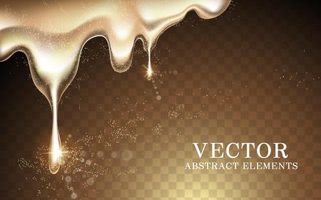 Gouden vloeistof, glanzend en glitter textuur geïsoleerd op een transparante achtergrond, 3d illustratie Vector Illustratie