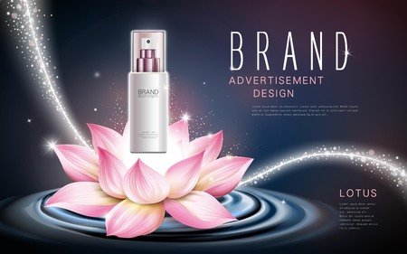lotus cosmetic product contained in white spray bottle, celestial background, 3d illustration