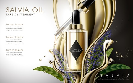 salvia rare oil treatment contained in golden droplet bottle, golden fluid elements white background, 3D illustration