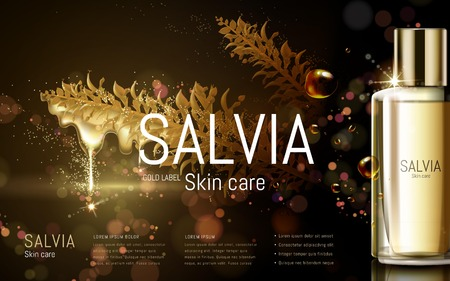 salvia skincare product contained in golden bottle, black background, 3D illustration Illustration