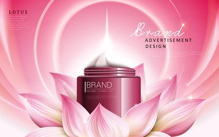 로터스 에센스 크림 광고는 빨간색 화장품 항아리, 분홍색 배경, 3d 그림에 포함