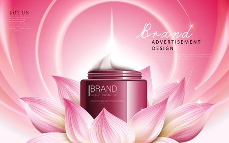 lotus essence cream ad contained in red cosmetic jar, pink background, 3d illustration