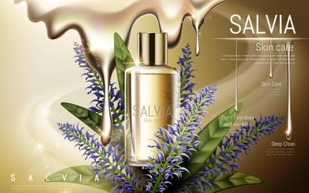 salvia: salvia skin care contained in golden bottle, golden background, 3D illustration Illustration