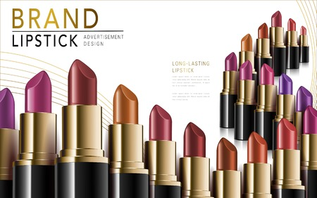 attract: colorful lipsticks placed in waved lines, white background, 3d illustration Illustration