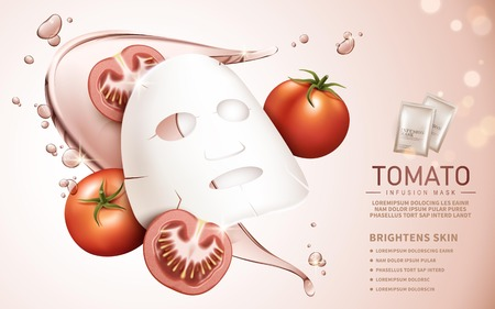 tomato infusion mask contained in bags, pale pink background, 3d illustration