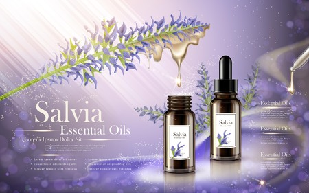 salvia essential oils contained in droplet bottle, lavender color background, 3D illustration