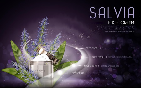 salvia cosmetic face cream contained in bottle, purple background, 3D illustration