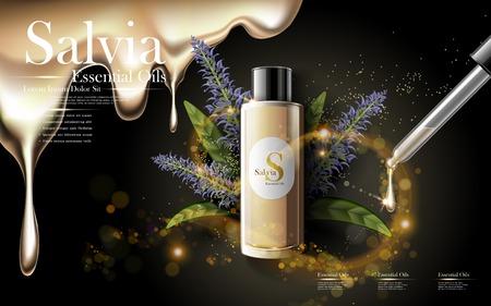 salvia: salvia essential oils in golden droplet bottle, black background, 3D illustration