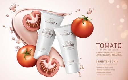 cleanser: tomato cream cleanser contained in white tube, pale pink background, 3d illustration