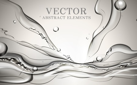 Abstract dynamic water, fresh splash water effects for design isolated on grey background, 3D illustration