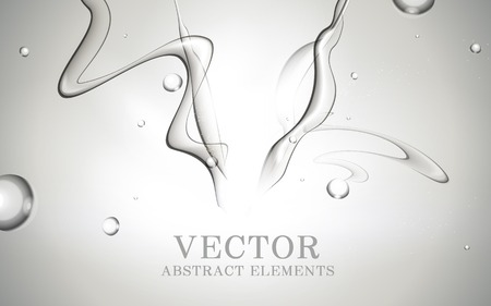 water stream: Abstract dynamic water, fresh splash water effects for design isolated on grey background, 3D illustration