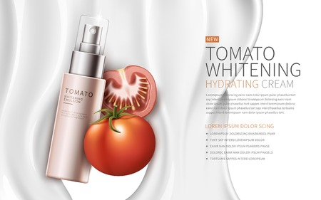 contained: tomato whitening hydrating cream contained in pink spray bottle, white creamy background, 3d illustration Illustration