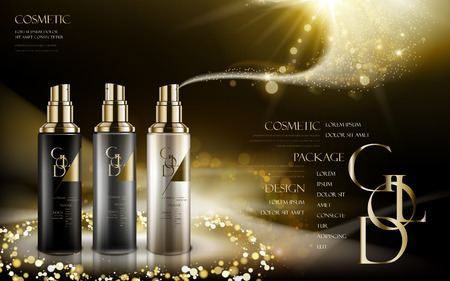 cosmetic product caontained in three different colors of bottles, with golden powders, black background, 3d illustration