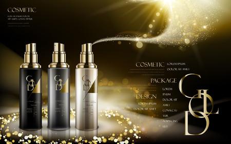 Kosmetik-Produkt in drei verschiedenen Farben der Flaschen, mit goldenen Pulver, schwarzer Hintergrund, 3D-Darstellung caontained