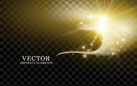 aufsteigend golden Lichtwellenelement, transparenter Hintergrund, 3D-Darstellung