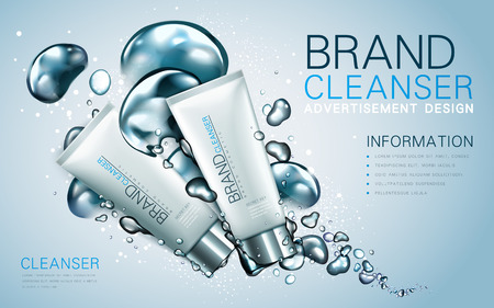 cleanser: facial cleanser ad, contained in two white tubes, light blue background, 3d illustration