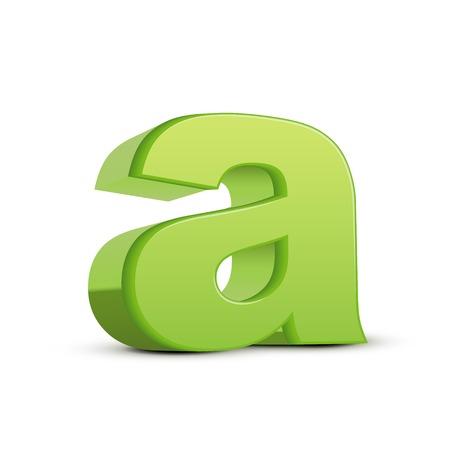 left tilt light green letter A, 3D illustration graphic isolated on white background
