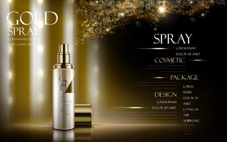 Spray d'oro contenuto in bottiglia, con elementi di polvere dorata, sfondo nero, illustrazione 3d