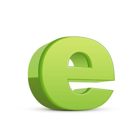 left tilt light green letter E, 3D illustration graphic isolated on white background