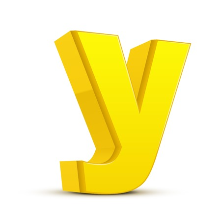 left tilt yellow letter Y, 3D illustration graphic isolated on white background