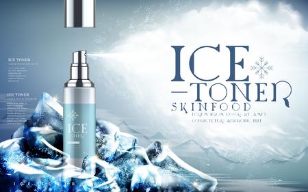 tóner de hielo contenido en botella de spray de color azul claro, los elementos de fondo de la montaña y el iceberg, ilustración 3d