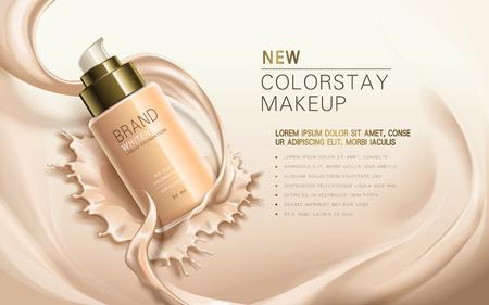 neuer Color Make-up, in der transparenten Flasche, cremige Hautfarbe Hintergrund enthalten, 3D-Darstellung