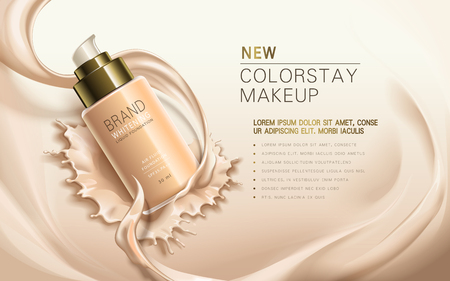nieuwe ColorStay make-up, die in transparante fles, romige huidskleur achtergrond, 3d illustratie Stock Illustratie