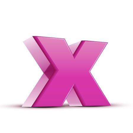 left tilt light pink letter X, 3D illustration graphic isolated on white background