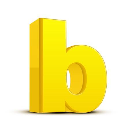 left tilt yellow letter B, 3D illustration graphic isolated on white background