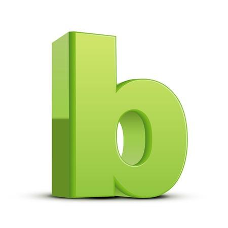 left tilt light green letter B, 3D illustration graphic isolated on white background