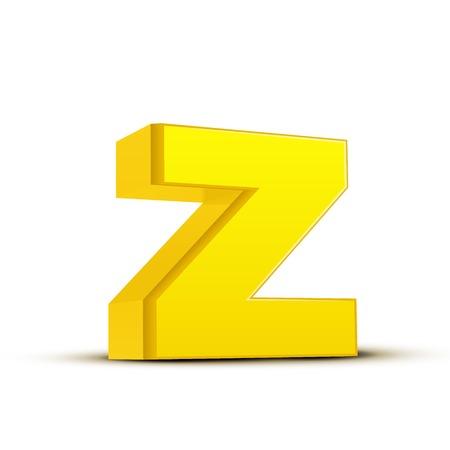 left tilt yellow letter Z, 3D illustration graphic isolated on white background