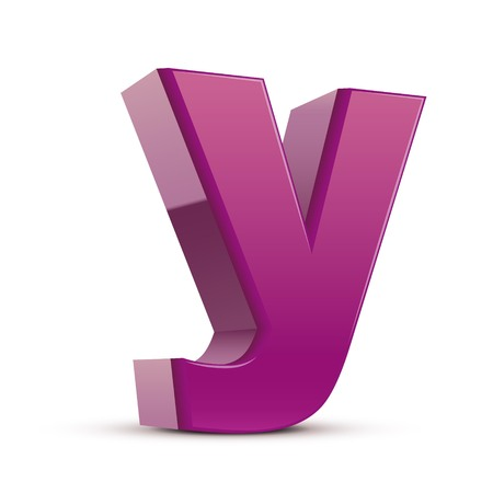 single word: left tilt purple letter Y, 3D illustration graphic isolated on white background