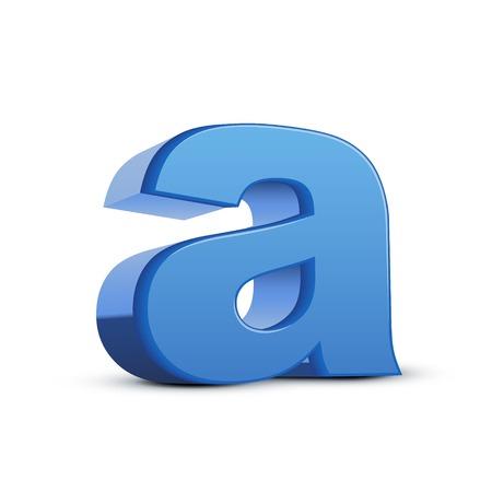 left tilt blue letter A, 3D illustration graphic isolated on white background