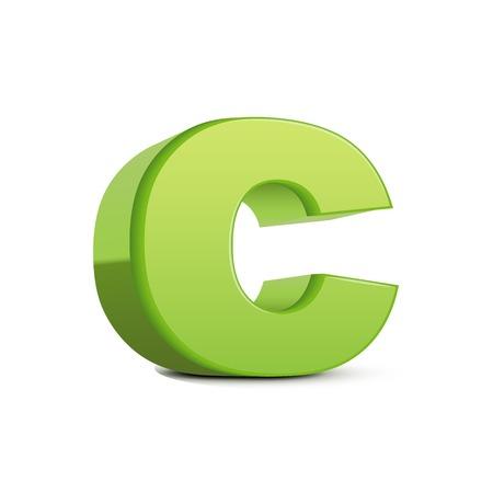 left tilt light green letter C, 3D illustration graphic isolated on white background Illustration