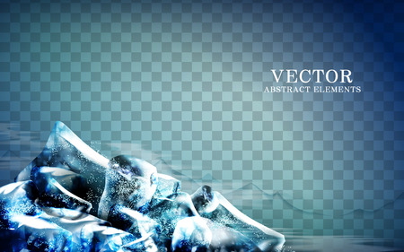 azul cubos de hielo en la esquina, fondo transparente, ilustración 3d