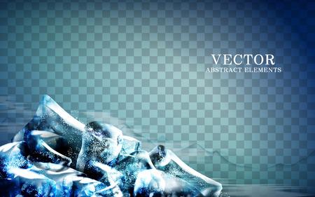 blue ice cubes at corner, transparent background, 3d illustration