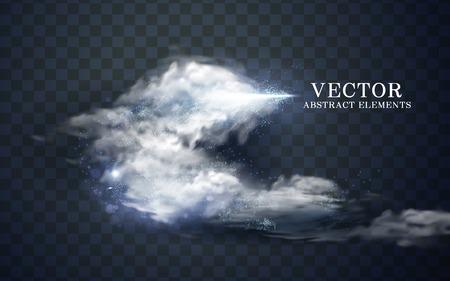 Effetto nuvoloso e cono di ghiaccio, sfondo trasparente, illustrazione 3d