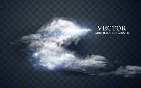 cloudy effect and icy cone, transparent background, 3d illustration