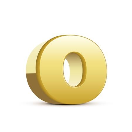 left tilt bronze letter O, 3D illustration graphic isolated on white background