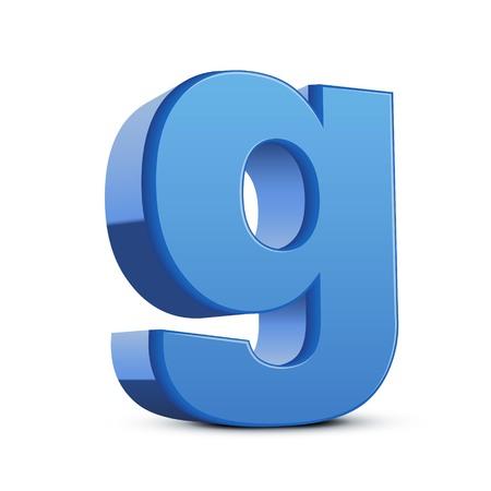 left tilt blue letter G, 3D illustration graphic isolated on white background Illustration