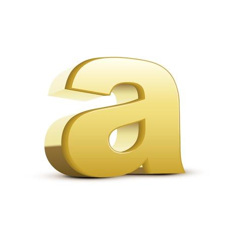 left tilt bronze letter A, 3D illustration graphic isolated on white background Illustration