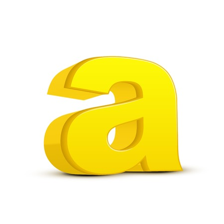 left tilt yellow letter A, 3D illustration graphic isolated on white background
