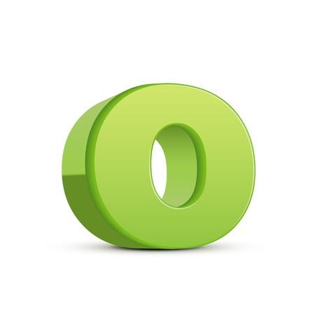 left tilt light green letter O, 3D illustration graphic isolated on white background