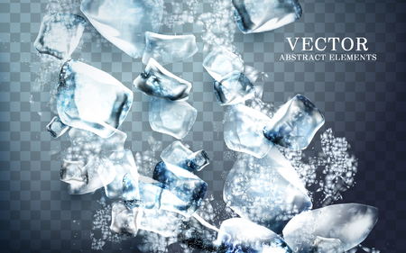 falling streaks of clear icy cube, transparent background, 3d illustration Çizim
