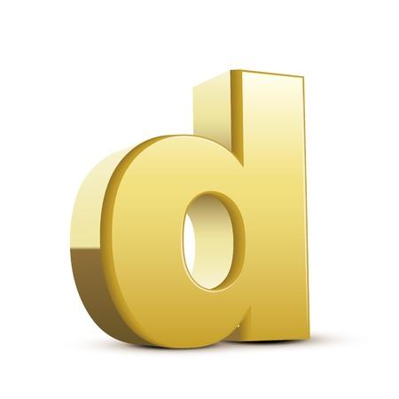 left tilt bronze letter D, 3D illustration graphic isolated on white background