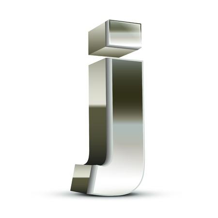 left tilt steel letter J, 3D illustration graphic isolated on white background