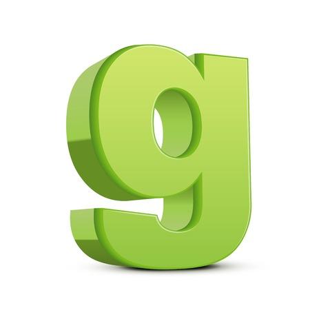 left tilt light green letter G, 3D illustration graphic isolated on white background