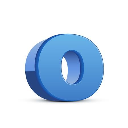 left tilt blue letter O, 3D illustration graphic isolated on white background Illustration