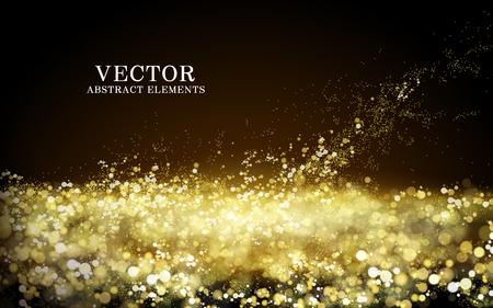 Spritzwasser goldenes Pulver Element, transparenter Hintergrund, 3D-Darstellung