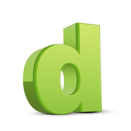 left tilt light green letter D, 3D illustration graphic isolated on white background